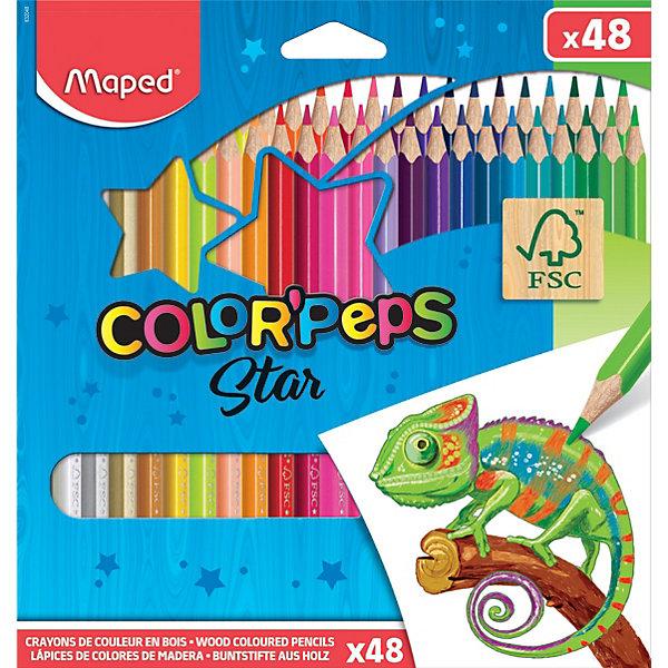 Карандаши цветные COLORPEPS, 48 цветов, MapedКарандаши<br>Карандаши цветные серии COLORPEPS  из американской липы. Эргономичная треугольная форма, удобно держать в руках. Ударопрочный грифель - карандаши не сломаются! Набор в картонном футляре, 48 ярких и насыщенных цветов! Карандаши соответствуют действующим стандартам качества детских игрушек. Идеально для раскрашивания, рисования и скетчей.<br>Ширина мм: 19; Глубина мм: 192; Высота мм: 214; Вес г: 312; Возраст от месяцев: 36; Возраст до месяцев: 2147483647; Пол: Унисекс; Возраст: Детский; SKU: 7379373;