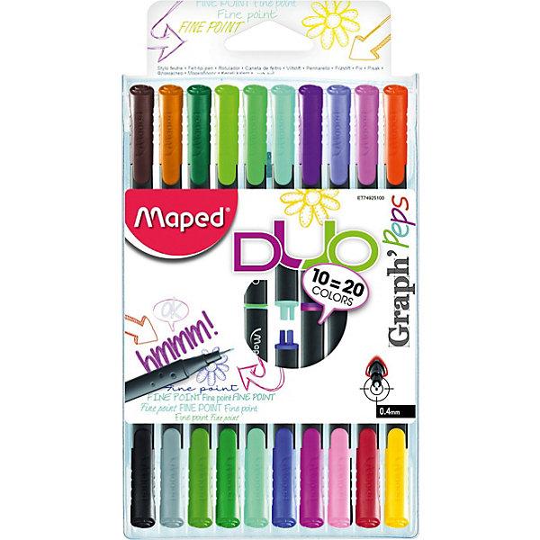 Купить Набор капиллярных ручек GRAPH PEP'S DUO, 10 штук, 20 цветов, 0, 4 мм, Maped, Китай, Унисекс