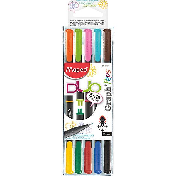 Maped Набор капиллярных ручек GRAPH PEP'S DUO, 5 штук, 10 цветов, 0,4 мм, Maped набор капиллярных ручек manga shonen