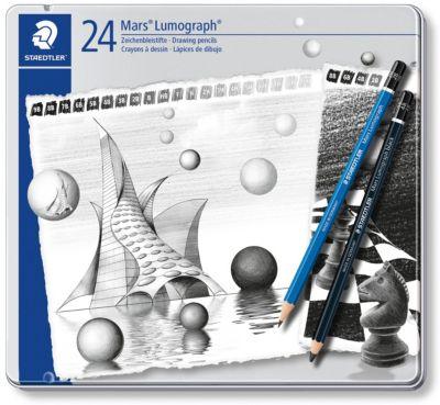 Карандаши чернографитовые Mars Lumograph, 24 штуки, (9B-HB, F, H-9H)/(8B, 6B, 4B, 2B), Staedtler, артикул:7379399 - Рисование и раскрашивание