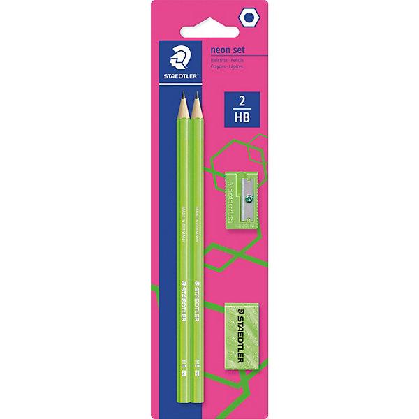 Карандаши чернографитовые WOPEX, HB, зеленый неон, 2 шт. + точилка + ластик, StaedtlerКарандаши<br>Набор чернографитовых карандашей серии WOPEX Неон в картонной упаковке с подвесом. Содержит: 2 карандаша 180 серии, ластик и точилку. Все в неоновом зеленом цвете! Высококачественный чернографитовый карандаш, изготовленный из инновационного материала Wopex. Яркие цвета. Уникальный процесс письма. Мягкая бархатистая поверхность и гладкое скольжение. Превосходная устойчивость к поломке. Степень твердости HB (твердо-мягкий). Диаметр грифеля - 2 мм.<br>Ширина мм: 235; Глубина мм: 66; Высота мм: 15; Вес г: 40; Цвет: зеленый; Возраст от месяцев: 36; Возраст до месяцев: 144; Пол: Унисекс; Возраст: Детский; SKU: 7379401;