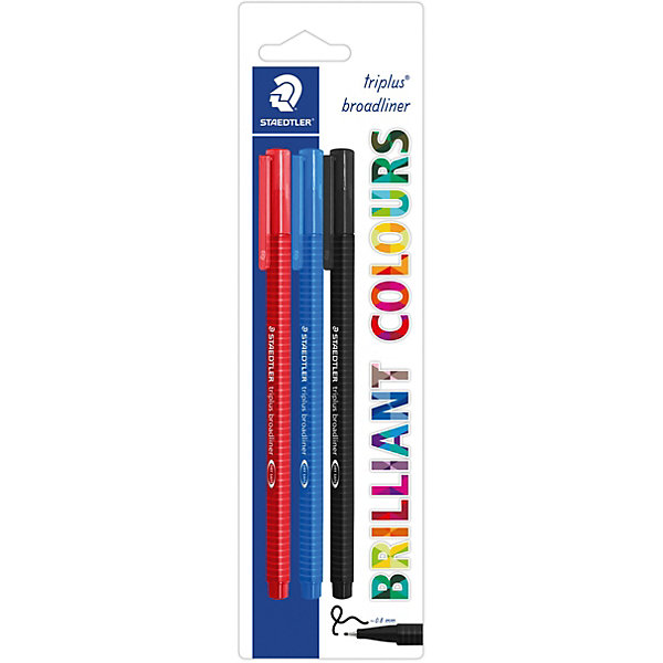 Staedtler Набор капиллярных ручек Triplus, 3 цвета: синий, красный, черный, 0,8 мм,
