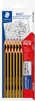 Набор чернографитовых карандашей Noris, НВ, 12 штук + ластик + точилка, Staedtler, артикул:7379417 - Рисование и раскрашивание