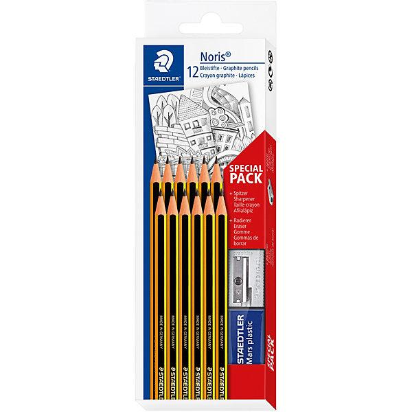 Staedtler Набор чернографитовых карандашей Noris, НВ, 12 штук + ластик точилка,