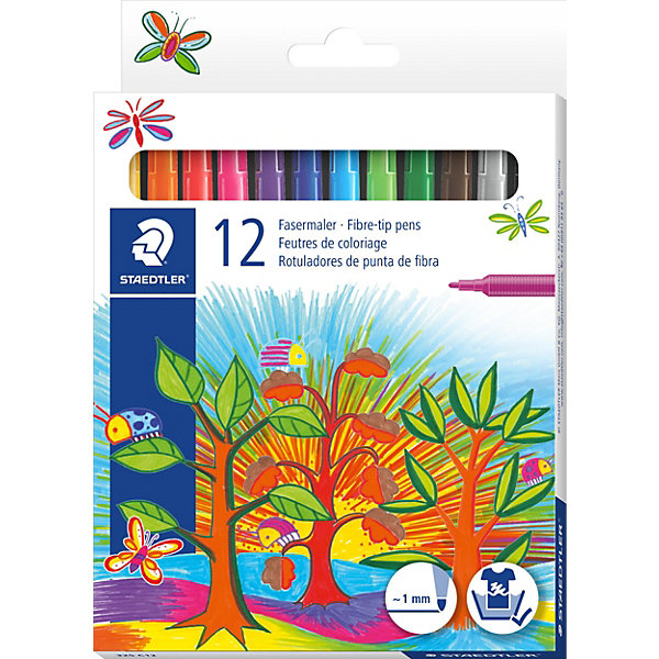Staedtler Набор фломастеров Noris Club, 12 цветов, Staedtler карандаши цветные noris club super jumbo 12 цветов точилка 129nc12p1