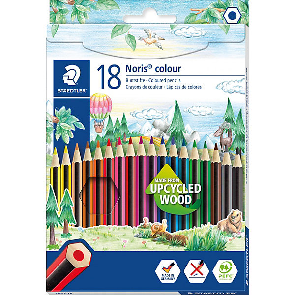 Карандаши цветные Noris Colour, 18 цветов, WOPEX, StaedtlerКарандаши<br>Цветные карандаши Noris Colour 185 из инновационного материала WOPEX. Сделаны из нового природного волокнистого материала: 70% древесины + пластиковый композит. Высокое качество письма, рисования, эскизов. Нескользящая, бархатистая поверхность; особенно ударопрочный корпус и грифель; диаметр - 3 мм; гладкое письмо. Инновационный, однородный материал WOPEX обеспечивает исключительно гладкую и ровную заточку с любым качеством точилки. Текст и рисунки легко стереть. Упаковка - 18 цветов. Карандаши уложены в 1 ряд.<br>Ширина мм: 197; Глубина мм: 134; Высота мм: 12; Вес г: 169; Возраст от месяцев: 60; Возраст до месяцев: 1164; Пол: Унисекс; Возраст: Детский; SKU: 7379427;
