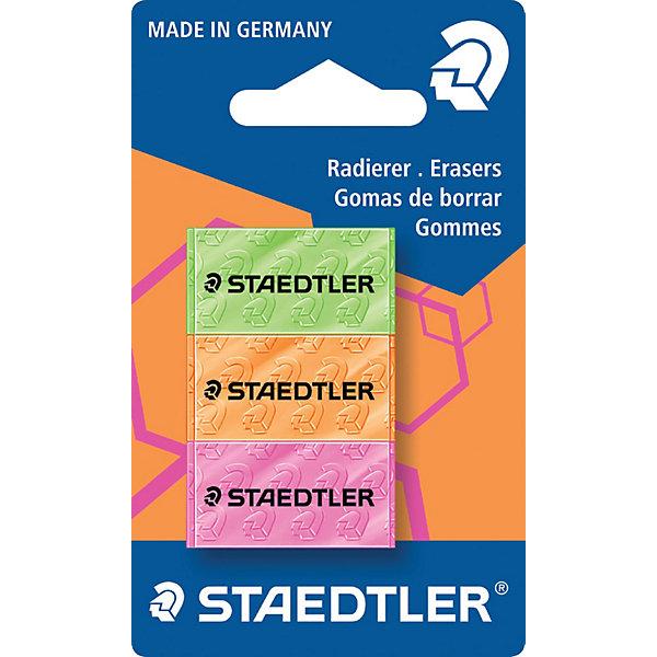 Staedtler Набор цветных ластиков 526 серии, 3 шт., Staedtler набор бальзам eos limited edition lip balm 3 pack visibly soft набор 3 шт