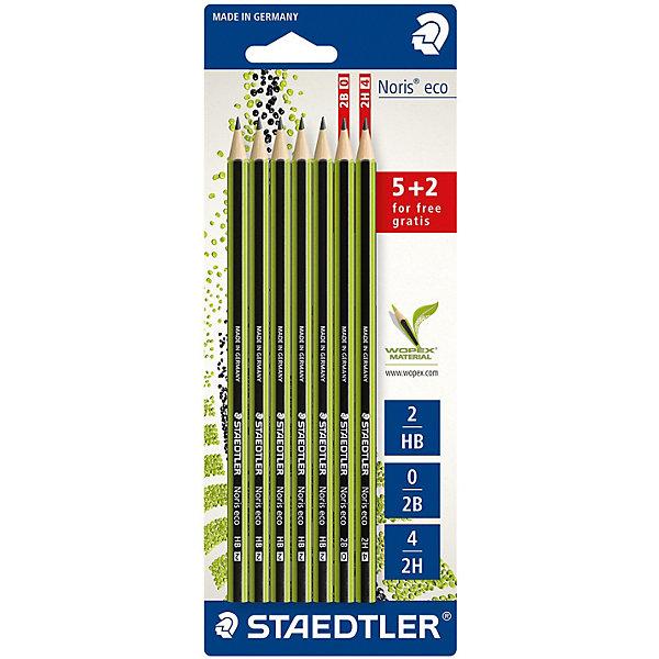 Staedtler Набор чернографитовых карандашей Noris eco, 7 шт.: 5 шт. - HB, 1 2B, 2H,