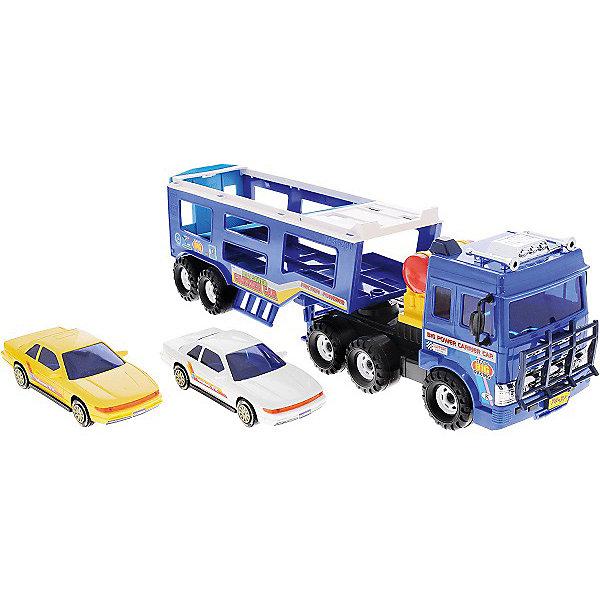 Машинка Daesung Автовоз с двумя машинкамиМашинки<br>Характеристики:<br><br>• возраст: от 3 лет<br>• комплектация: автовоз, 2 легковых автомобиля<br>• материал: пластик<br>• упаковка: красочная картонная коробка<br>• размер упаковки: 56х16х19 см.<br>• вес: 1,894 кг.<br><br>Машинка автовоз от компании Daesung (Дайсунг) обязательно должна быть в гараже маленького автолюбителя.<br><br>Автовоз хорошо детализирован и тщательно проработан. В передней части кабины расположена защитная решетка. Прицеп для перевозки машин имеет два уровня. Его можно отсоединить от тягача. Для устойчивости автовоза предусмотрены опоры. Большие колеса с массивным протектором не проскальзывают и не оставляют следов на полу. Автовоз оснащен инерционным механизмом. В комплект входят два легковых автомобиля, которые компактно помещаются на этажи прицепа.<br><br>Игрушка изготовлена из высококачественного, ударопрочного пластика, абсолютно безопасного для здоровья детей.<br><br>Игрушку машину Daesung, автовоз можно купить в нашем интернет-магазине.<br>Ширина мм: 160; Глубина мм: 560; Высота мм: 190; Вес г: 1894; Возраст от месяцев: 36; Возраст до месяцев: 2147483647; Пол: Мужской; Возраст: Детский; SKU: 7379674;
