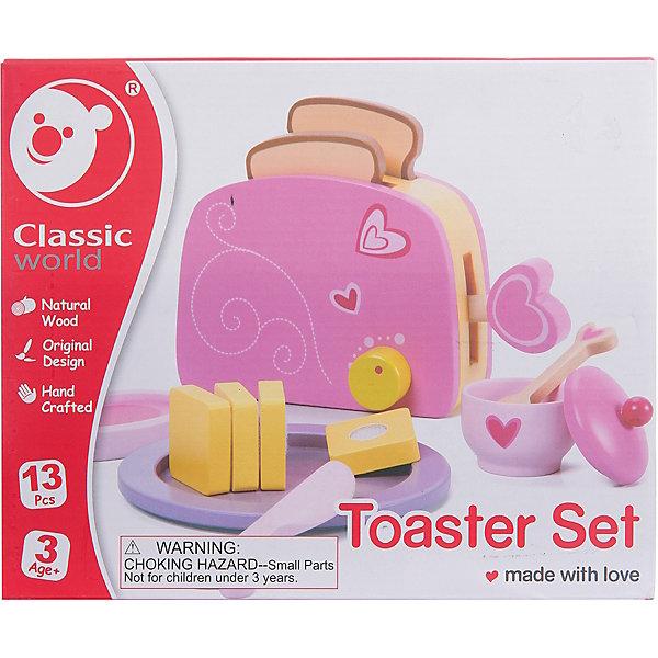 Игровой набор Classic World Тостер, деревоДетские кухни<br>Характеристики:<br><br>• возраст: от 3 лет<br>• в наборе: тостер, тосты, масло, тарелочка, ножик, йогурт, ложка, разделочная доска<br>• размер тостера: 18х7х11 см.<br>• материал: дерево, текстиль<br>• размер упаковки: 28х8,5х20 см.<br>• вес: 660 гр.<br><br>Игровой набор с интерактивными элементами «Тостер» - замечательная игрушка для сюжетно-ролевых игр. С ним малышка будет придумать различные вариации завтрака для кукол, что прекрасно способствует развитию творческого мышления и коммуникативных навыков.<br><br>В комплекте: тостер, тосты, масло, тарелочка, ножик, йогурт с ложкой, разделочная доска. Масло можно разрезать ножом. Кусочки скреплены липучкой. В тостер можно поместить два куска хлеба. На готовые тосты можно положить масло и подать их красиво на стильной тарелочке.<br><br>Все элементы набора выполнены из экологически чистого дерева, тщательно отшлифованы и окрашены краской на водной основе.<br><br>Игровой набор из дерева с интерактивными элементами Тостер можно купить в нашем интернет-магазине.<br>Ширина мм: 280; Глубина мм: 85; Высота мм: 200; Вес г: 660; Возраст от месяцев: 36; Возраст до месяцев: 2147483647; Пол: Унисекс; Возраст: Детский; SKU: 7380180;