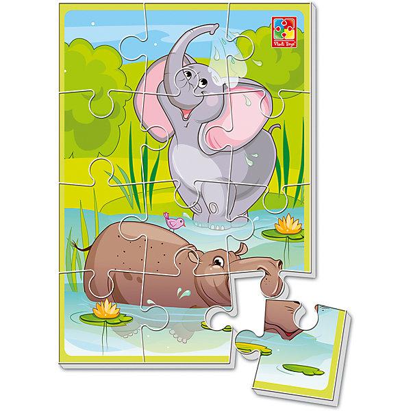 Мягкие пазлы А5 Банный деньПазлы для малышей<br>Характеристики товара:<br><br>• возраст: от 2 лет;<br>• пол: для девочек и мальчиков;<br>• количество элементов: 12 шт.;<br>• тип пазла: мягкий;<br>• из чего сделана игрушка (состав): текстиль;<br>• размер собранного пазла: формат А5;<br>• размер упаковки: 0,4х18х28,5 см.;<br>• вес: 80 гр.;<br>• страна обладатель бренда: Украина.<br><br>На картинке замирает интересный фрагмент из жизни удивительного зверя. Слон и бегемот собрались на озеро.<br><br>Ребенок может придумывать разные истории, связанные с героем, фантазировать и мечтать.<br><br>Мягкий пазл это не только прекрасная забава, но и отличная декорация. Помогите ребенку украсить комнату готовой картинкой.<br><br>Складывание пазлов дисциплинирует, воспитывает усидчивость, развивает внимание.<br><br>Мягкий пазл «Банный день» можно купить в нашем интернет-магазине.<br>Ширина мм: 4; Глубина мм: 180; Высота мм: 285; Вес г: 80; Возраст от месяцев: 24; Возраст до месяцев: 2147483647; Пол: Унисекс; Возраст: Детский; SKU: 7380264;