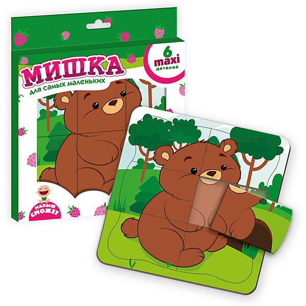Пазл-рамка МишкаОбучающие игры<br>Характеристики товара:<br><br>• возраст: от 3 лет;<br>• пол: для девочек и мальчиков;<br>• комплект: двухслойная рамка 1 шт., детали пазла 6 шт.;<br>• из чего сделана игрушка (состав): картон;<br>• размер упаковки: 0,1х22х26 см.;<br>• вес: 20 гр.;<br>• упаковка: картонная коробка;<br>• страна обладатель бренда: Украина.<br><br>Цель сборки данного пазла познакомиться с дружелюбным зверем. <br><br>Ребенок только начинает познавать мир, поэтому мишутка будет ему подсказывать. <br><br>На двухслойной основе вы увидите изображение, которое необходимо сложить. Малыш должен разместить сверху соответствующие по цвету и очертаниям детали.<br><br>Рамка удерживает детали вместе, благодаря чему пазл не распадается. Деревообразные детали прочные и надежные. Плотная картонная прослойка делает их объемными и удобными для детской ладошки.<br><br>Пазл рамку «Мишка» можно купить в нашем интернет-магазине.<br>Ширина мм: 10; Глубина мм: 220; Высота мм: 260; Вес г: 20; Возраст от месяцев: 36; Возраст до месяцев: 2147483647; Пол: Унисекс; Возраст: Детский; SKU: 7380274;