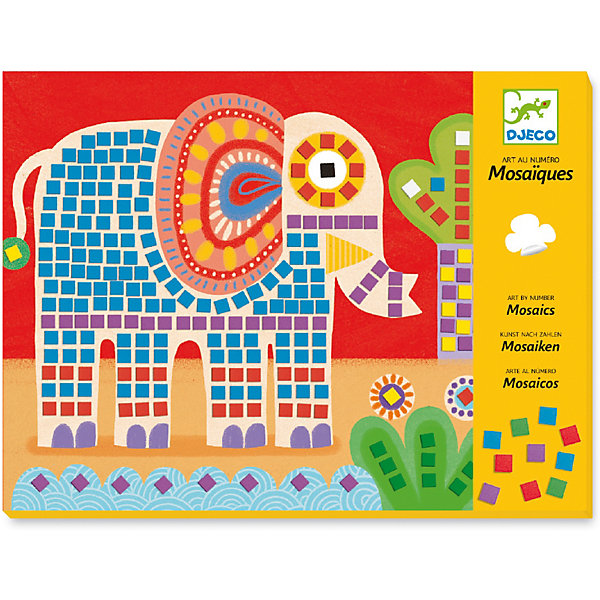 Мозаика Слон и улитка, DjecoКартины пайетками<br>Великолепный набор для творчества Мозаика Слон и улитка от компании Djeco станет прекрасным подарком для каждого творческого ребенка. Никогда еще мозаика не была такой легкой! Достаточно просто наклеить небольшие цветные квадратики вместо цифр, и ваш шедевр уже готов! При этом ребенок может самостоятельно выбрать тот или иной цвет согласно инструкции, или же придумать свою цветовую гамму. Набор состоит из двух шаблонов с картинками и восьми мягких разноцветных листов с наклеивающимися квадратиками, имитирующими смальту. Все изображения в стиле модерн созданы современными художниками. Наборы для творчества с раскрасками способствуют развитию творческих способностей и воображения ребенка, учат его внимательности и усидчивости. Набор продается в красочной подарочной упаковке. Французская компания Джеко производит развивающие игрушки и игры для детей, а также наборы для творчества и детали интерьера детской комнаты. Все товары Джеко отличаются высочайшим качеством, необычной идеей исполнения. Изображения и дизайн специально разрабатываются молодыми французскими художниками.<br>Ширина мм: 290; Глубина мм: 220; Высота мм: 10; Вес г: 230; Возраст от месяцев: 36; Возраст до месяцев: 2147483647; Пол: Унисекс; Возраст: Детский; SKU: 7414663;