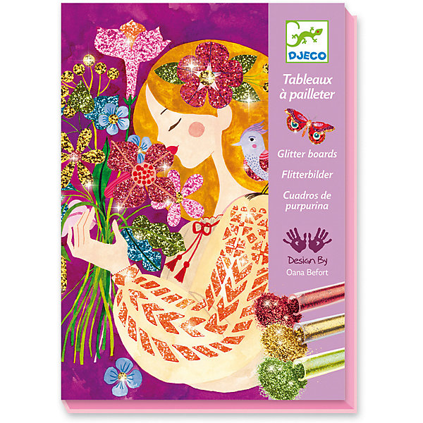 Набор для творчества Аромат цветов, DjecoКартины пайетками<br>Набор для творчества Аромат цветов - потрясающе красивый набор для детского творчества, раскраска с блестками.<br><br>Картинка, изображающая прелестных девушек с цветами, помещается в коробку, затем необходимо снять пленку с одной детали и засыпать ее выбранным цветом, потом аккуратно смахнуть лишние блестки и высыпать их обратно в тюбик через специальное отверстие в углу коробки. Ваш ребенок сможет создать удивительные по красоте картинки, переливающиеся и блестящие всеми цветами радуги. <br><br>В комплекте:<br><br>4 картинки-основы (15 х 21 см),<br>6 тюбиков с блестками,<br>палочка-стек,<br>кисть,<br>инструкция.<br>Наборы для детского творчества развивают фантазию, воображение и творческие способности ребенка, учат его внимательности и усидчивости.<br>Ширина мм: 160; Глубина мм: 230; Высота мм: 40; Вес г: 460; Возраст от месяцев: 36; Возраст до месяцев: 2147483647; Пол: Унисекс; Возраст: Детский; SKU: 7414690;