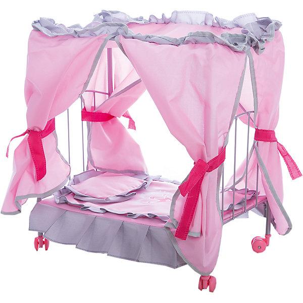 Melobo Кровать д/кукол Melobo, с балдахином Корона 47*31*53см melobo коляска трость для кукол летняя с ремнем безопасности melobo