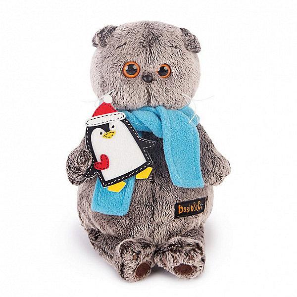 Budi Basa Мягкая игрушка Budi Basa Кот Басик в шарфике и с пингвином, 22 см gulliver игр мягкая мишка с вельветовыми вставками в шарфике 24см