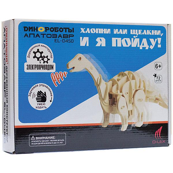 D-Lex Деревянный конструктор Апатозавр, звуковой контроль для движения