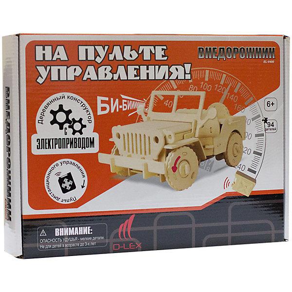 Деревянный конструктор Джип , звуковые эффектыДеревянные модели<br>Характеристики товара:<br><br>• возраст: от 6 лет;<br>• материал:  дерево, пластик, металл;<br>• в комплекте: 5 деревянных листов фанеры с деталями, пластиковая деталь, блок для батарей, инфракрасный датчик, тюбик клея, 2 моторчика, инфракрасный пульт дистанционного управления, инструкция;<br>• батарейки в комплекте: не входят в комплект;<br>• тип батареек: 5 x AAA / LR0.3 1.5V (мизинчиковые);<br>• размер упаковки: 32х5х23 см.;<br>• упаковка: картонная коробка;<br>• вес в упаковке: 850 гр.;<br>• бренд, страна бренда: D-LEX, Россия;<br>• страна-изготовитель: Китай.<br><br>Деревянный конструктор «Джип» от D-Lex порадует детей и поможет создать модель военной техники, которая послужит оригинальной игрушкой и дополнит интерьер детской комнаты.<br><br>Конструктор состоит из деревянных деталей для сборки фигурки внедорожника, электромеханических деталей и датчика звука. Детали легко и надежно крепятся друг к другу по штырьково-пазовой системе. Ребенка впечатлит возможность самостоятельно создать интерактивную игрушку, умеющую ездить и издавать реалистичные звуки. <br><br>Его отличительной особенностью является то, что данная модель управляется при помощи пульта динстанционного управления.  Он легко собирается, не требуя инструмента. Набор включает иллюстрированную пошаговую инструкцию.<br><br>Набор пробуждает у ребенка интерес к естественным наукам, учит терпению, вниманию и логическому мышлению, развивает творческие способности и создает благоприятный эмоциональный фон.<br><br>Рекомендуемый возраст: от 6 лет, под наблюдением взрослых.<br><br>Деревянный конструктор «Джип», пульт управления, звуковые эффекты, D-LEX можно купить в нашем интернет-магазине.<br>Ширина мм: 320; Глубина мм: 50; Высота мм: 230; Вес г: 850; Возраст от месяцев: 72; Возраст до месяцев: 2147483647; Пол: Унисекс; Возраст: Детский; SKU: 7419295;