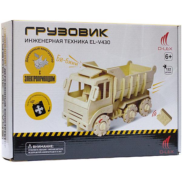 Деревянный конструктор Грузовик , звуковые эффектыДеревянные модели<br>Характеристики товара:<br><br>• возраст: от 6 лет;<br>• материал:  дерево, пластик, металл;<br>• в комплекте: 122 шт.;<br>• в комплекте: детали конструктора, мотор для машины, пульт Д/У, инструкция;<br>• батарейки в комплекте: не входят в комплект;<br>• тип батареек: 5 x AAA / LR0.3 1.5V (мизинчиковые);<br>• размер упаковки: 32х6х23 см.;<br>• упаковка: картонная коробка;<br>• вес в упаковке: 1 кг.;<br>• бренд, страна бренда: D-LEX, Россия;<br>• страна-изготовитель: Китай.<br><br>Деревянный конструктор «Грузовик» от D-Lex порадует детей и поможет создать модель строительной техники, которая послужит оригинальной игрушкой и дополнит интерьер детской комнаты.<br><br>Набор выполнен из дерева и состоит из 122 деталей. Элементы надежно соединяются между собой. Управление грузовиком производится с помощью специального пульта. К тому же автомобиль может издавать звук гудка. В комплект входит подробная инструкция, которая поможет ребенку самостоятельно собрать будущую игрушку.<br><br>Набор пробуждает у ребенка интерес к естественным наукам, учит терпению, вниманию и логическому мышлению, развивает творческие способности и создает благоприятный эмоциональный фон.<br><br>Рекомендуемый возраст: от 6 лет, под наблюдением взрослых.<br><br>Деревянный конструктор «Грузовик», пульт управления, звуковые эффекты, D-LEX можно купить в нашем интернет-магазине.<br>Ширина мм: 320; Глубина мм: 60; Высота мм: 230; Вес г: 1055; Возраст от месяцев: 72; Возраст до месяцев: 2147483647; Пол: Унисекс; Возраст: Детский; SKU: 7419297;