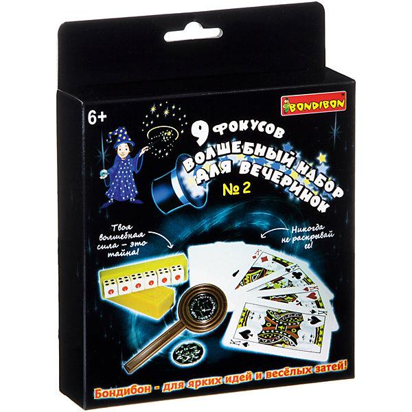 Фокусы 9 фокусов для вечеринки №2, BondibonФокусы и розыгрыши<br>Характеристики:<br><br>• возраст: от 6 лет;<br>• материал: пластик;<br>• количество фокусов: 9;<br>• в наборе: игральные кубики, контейнер с крышкой, лопатка, 2 монеты, карты, инструкция;<br>• все упаковки: 115 гр.;<br>• размер упаковки: 3,5х14х14 см.<br><br>«9 фокусов для вечеринки №2» от Bondibon сделают время в кругу друзей незабываемым, ведь они станут главными зрителями шоу. В арсенале фокусника есть все необходимое для трюков с картами и кубиками. Но главное не забывать, что фокусник никогда не раскрывает своих секретов.<br><br>Фокусы «9 фокусов для вечеринки №2», Bondibon можно купить в нашем интернет-магазине.<br>Ширина мм: 145; Глубина мм: 35; Высота мм: 140; Вес г: 105; Возраст от месяцев: 72; Возраст до месяцев: 2147483647; Пол: Унисекс; Возраст: Детский; SKU: 7420013;