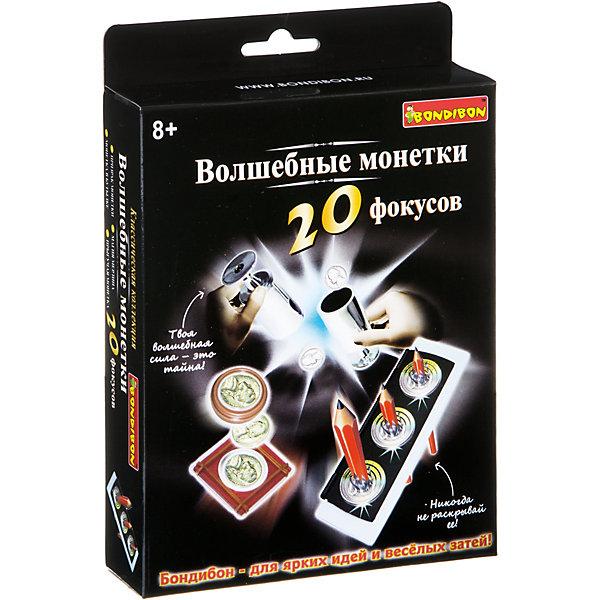 Фокусы Волшебные монетки 20 фокусов, BondibonФокусы и розыгрыши<br>Характеристики:<br><br>• возраст: от 8 лет;<br>• материал: пластик;<br>• количество фокусов: 20;<br>• в наборе: прямоугольный контейнер, ключ, круглый контейнер, коробочка с резинками, два стакана на ножках, 5 монеток, инструкция;<br>• все упаковки: 185 гр.;<br>• размер упаковки: 3,5х14х14 см.<br><br>«Волшебные монетки 20 фокусов» от Bondibon научат непревзойденному мастерству и хитростям с монетами. Классические трюки с исчезновением, ловкостью рук и много новых, которые приведут в восторг всех друзей и семью. Но главное не забывать, что фокусник никогда не раскрывает своих секретов.<br><br>Фокусы «Волшебные монетки 20 фокусов», Bondibon можно купить в нашем интернет-магазине.<br>Ширина мм: 145; Глубина мм: 35; Высота мм: 140; Вес г: 175; Возраст от месяцев: 72; Возраст до месяцев: 2147483647; Пол: Унисекс; Возраст: Детский; SKU: 7420015;
