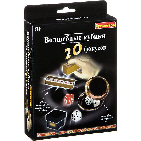 Фокусы Волшебные кубики 20 фокусов, BondibonФокусы и розыгрыши<br>Характеристики:<br><br>• возраст: от 8 лет;<br>• материал: пластик;<br>• количество фокусов: 20;<br>• в наборе: прямоугольный контейнер, квадратный контейнер, куб, игральные кубики, 2 тарелочки, инструкция;<br>• все упаковки: 189 гр.;<br>• размер упаковки: 3,5х14х14 см.<br><br>«Волшебные кубики 20 фокусов» от Bondibon научат непревзойденному мастерству и хитростям с игральными костями. Трюки с цифрами, ловкостью рук и много новых, которые приведут в восторг всех друзей и семью. Но главное не забывать, что фокусник никогда не раскрывает своих секретов.<br><br>Фокусы «Волшебные кубики 20 фокусов», Bondibon можно купить в нашем интернет-магазине.<br>Ширина мм: 145; Глубина мм: 35; Высота мм: 140; Вес г: 181; Возраст от месяцев: 72; Возраст до месяцев: 2147483647; Пол: Унисекс; Возраст: Детский; SKU: 7420016;