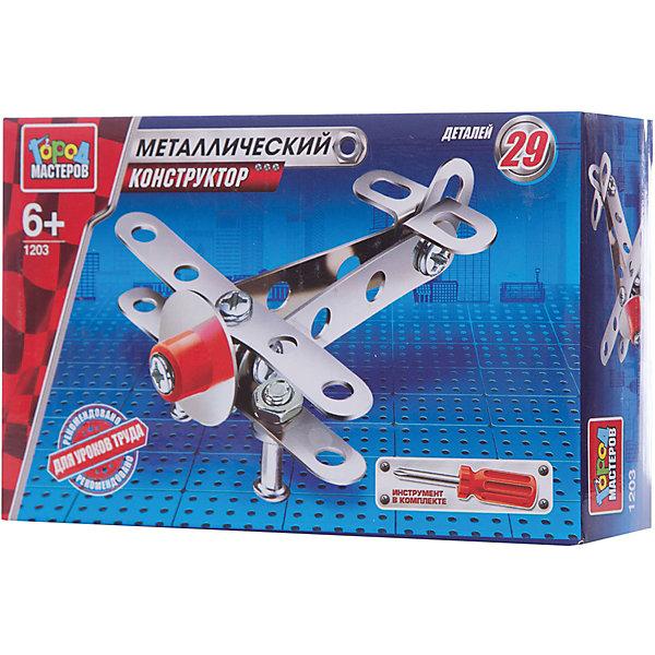 Конструктор металлический Самолет.Металлические конструкторы<br>Металлический конструктор Самолёт состоит из 29 деталей. Из них мальчику предлагается собрать модель самолёта, для удобства сборки в комплекте идёт отвёртка. Следуя приложенной схеме-инструкции, применив смекалку и терпение, ребенок увлекательно и полезно проведет время, развивая фантазию, глазомер и пространственное мышление. Предназначено для уроков труда и домашнего досуга. Рекомендовано детям старше 6-ти лет.<br>Ширина мм: 150; Глубина мм: 50; Высота мм: 100; Вес г: 80; Возраст от месяцев: 36; Возраст до месяцев: 84; Пол: Мужской; Возраст: Детский; SKU: 7420268;