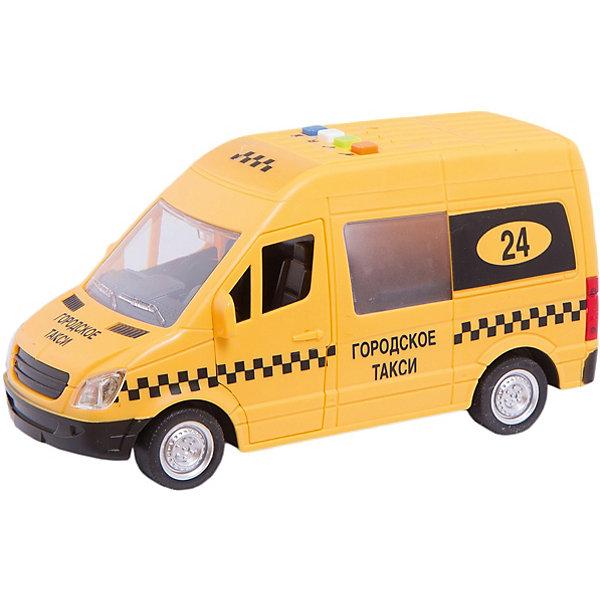 ТЕХНОПАРК Машина Такси 22 см, пластиковая, инерционная со светом и звуком, открывающиеся двери.