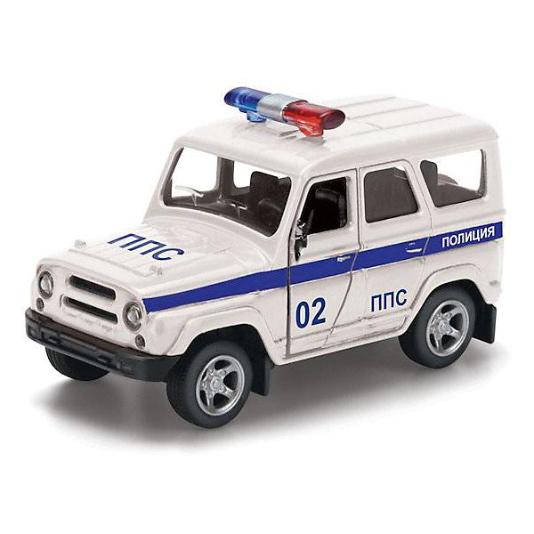 Машина  металлическая  инерционная   УАЗ Hunter полиция   открываются  двери .Машинки<br>Невозможно представить себе детскую игру в полицию без реалистичного спецтранспорта этой службы. Поэтому подарив крохе эту машинку, вы также даете ему возможность проявить фантазию и разыграть приключения смелых защитников правопорядка, передвигающихся по улицам города на этом реалистичном УАЗе. Эта яркая игрушка напоминает миниатюрную (масштаб 1:50) копию транспортного средства службы полиции модели УАЗ. Машинка окрашена в характерный цвет и дополнена мигалкой на крыше, а также надписями о принадлежности к службе полиции. Двери УАЗа открываются, поэтому дети смогут рассмотреть в деталях салон и сиденья. Транспортное средство можно катать по ровной поверхности благодаря инерционному механизму, активируемому оттягиванием игрушки назад. У машины широкие рельефные колеса, поэтому она реалистично ездит по поверхности и преодолевает препятствия. Компактные размеры игрушки позволяют крохе брать ее с собой на прогулку или в гости к друзьям. УАЗ выполнен из металла, поэтому ребенок может не боятся за его сохранность в случае падения или удара. Игры с машинкой помогут детям развить мелкую моторику рук, а также фантазию при придумывании сюжета развлечения. Размер манишки 13x6x15 см. Рекомендовано детям от 3-х лет.<br>Ширина мм: 150; Глубина мм: 60; Высота мм: 130; Вес г: 120; Возраст от месяцев: 36; Возраст до месяцев: 120; Пол: Мужской; Возраст: Детский; SKU: 7420289;