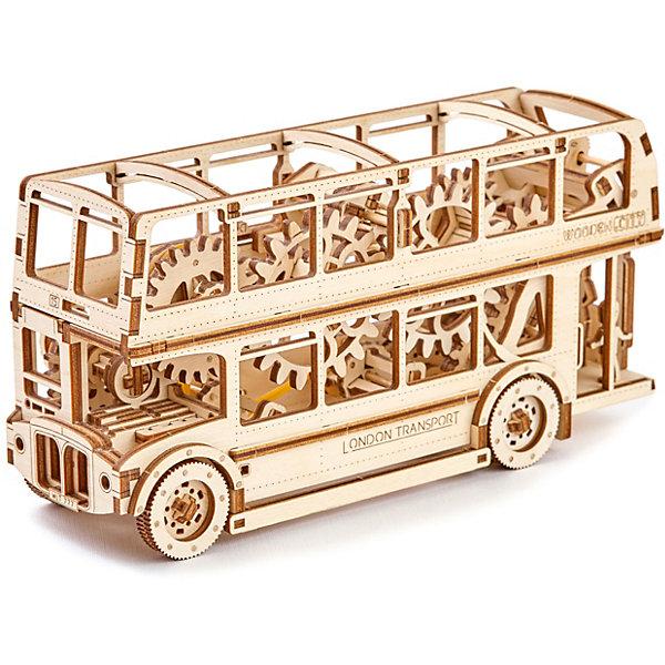 Сборная модель Лондонский автобус Wooden CityДеревянные модели<br>Характеристики товара:<br><br>• количество деталей: 216;<br>• возраст: от 14 лет;<br>• длина пути: до 4 метров;<br>• время сборки: 6 часов;<br>• материал: фанера;<br>• размер упаковки: 35,5х24х4 см;<br>• страна бренда: Польша.<br><br>Модель Лондонского автобуса от Wooden City - прекрасная возможность собрать интересный механизм своими руками. Модель приводится в действие при помощи заводного ключа с эффектным звуком трещотки. Готовый автобус может ездить вперед или назад на расстояние до четырех метров. С задней стороны есть рычаги управления, с помощью которых можно выбрать направление движения автобуса.<br><br>На задней площадке автобуса расположились три пассажира: отец, мать, ребенок. При желании фигурки можно менять местами. Модель состоит из 216 деталей, выполненных из березовой фанеры. Детали вырезаны, потребуется только выдавить их из основы. Для работы не требуются инструменты и клей. Ориентировочное время сборки - 6 часов.<br><br>Сборную модель «Лондонский автобус» Wooden City (Вуден Сити) можно купить в нашем интернет-магазине.<br>Ширина мм: 355; Глубина мм: 240; Высота мм: 40; Вес г: 1090; Возраст от месяцев: 168; Возраст до месяцев: 2147483647; Пол: Унисекс; Возраст: Детский; SKU: 7421678;