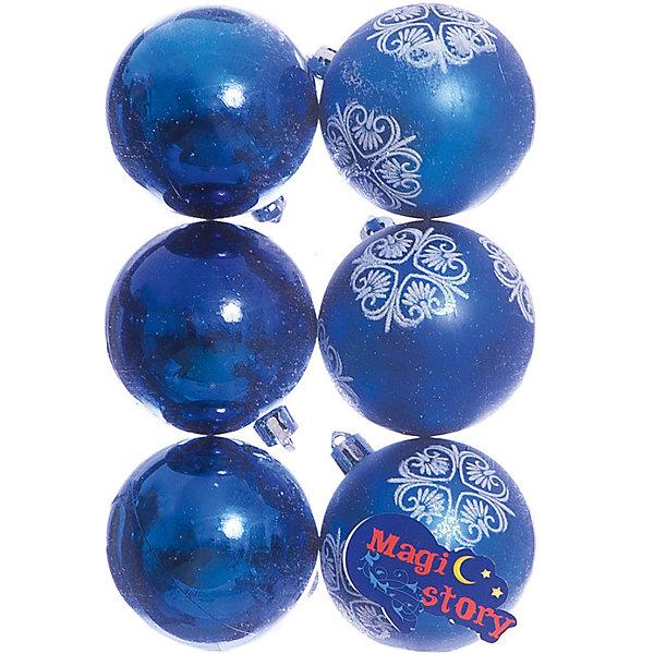 Набор шаров 6*6см Magic Story синийЁлочные игрушки<br>Характеристики:<br><br>• в наборе: 6 шт.;<br>• материал: пластик;<br>• диаметр: 6 см;<br>• вес упаковки: 78 гр.;<br>• размер упаковки: 12х6х18 см.<br><br>Шары из набора Magic Story выполнены из пластика, а значит не разобьются при случайном падении и останутся в коллекции елочных украшений на многие годы.<br><br>Три шара имеют матовое покрытие с узорами. Остальные три — глянцевые, превосходно отражающие свет. Краски украшений стойкие и насыщенные, не выцветают со временем. Подвесить шары можно с помощью специальных петелек.<br><br>Набор шаров 6х6 см Magic Story синий можно купить в нашем интернет-магазине.<br>Ширина мм: 120; Глубина мм: 60; Высота мм: 180; Вес г: 78; Возраст от месяцев: 36; Возраст до месяцев: 2147483647; Пол: Унисекс; Возраст: Детский; SKU: 7422329;