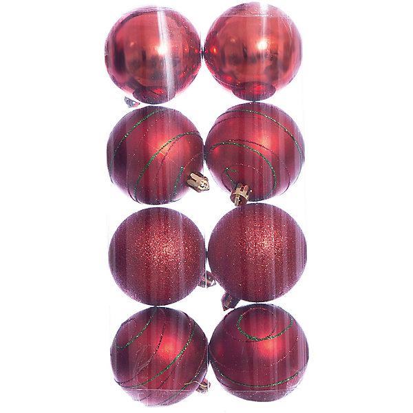 Набор шаров 8*6см Magic Story красныйЁлочные игрушки<br>Характеристики:<br><br>• в наборе: 8 шт.;<br>• материал: пластик;<br>• диаметр: 6 см;<br>• вес упаковки: 78 гр.;<br>• размер упаковки: 12х6х24 см.<br><br>Шары из набора Magic Story выполнены из пластика, а значит не разобьются при случайном падении и останутся в коллекции елочных украшений на многие годы.<br><br>В наборе есть однотонные глянцевые шары, матовые с узорами и однотонные, покрытые глиттером. Краски украшений стойкие и насыщенные, не выцветают со временем. Подвесить шары можно с помощью специальных петелек.<br><br>Набор шаров 8х6 см Magic Story красный можно купить в нашем интернет-магазине.<br>Ширина мм: 120; Глубина мм: 60; Высота мм: 240; Вес г: 78; Возраст от месяцев: 36; Возраст до месяцев: 2147483647; Пол: Унисекс; Возраст: Детский; SKU: 7422343;