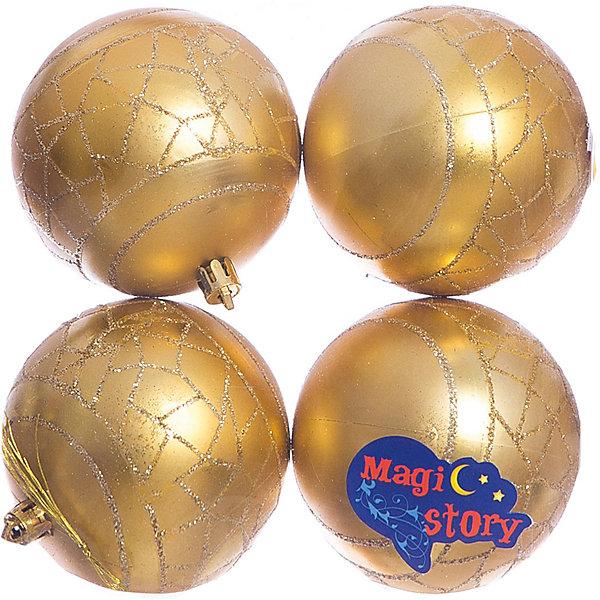 Набор шаров 4*8см Magic Story золотоЁлочные игрушки<br>Характеристики:<br><br>• в наборе: 4 шт.;<br>• материал: пластик;<br>• диаметр: 8 см;<br>• вес упаковки: 92 гр.;<br>• размер упаковки: 16х8х16 см.<br><br>Шары из набора Magic Story выполнены из пластика, а значит не разобьются при случайном падении и останутся в коллекции елочных украшений на многие годы.<br><br>Шары имеют матовое покрытие, украшены узорами с блестками. Краски украшений стойкие и насыщенные, не выцветают со временем. Шары можно подвесить с помощью специальных петелек.<br><br>Набор шаров 4х8 см Magic Story золото можно купить в нашем интернет-магазине.<br>Ширина мм: 160; Глубина мм: 80; Высота мм: 160; Вес г: 92; Возраст от месяцев: 36; Возраст до месяцев: 2147483647; Пол: Унисекс; Возраст: Детский; SKU: 7422383;