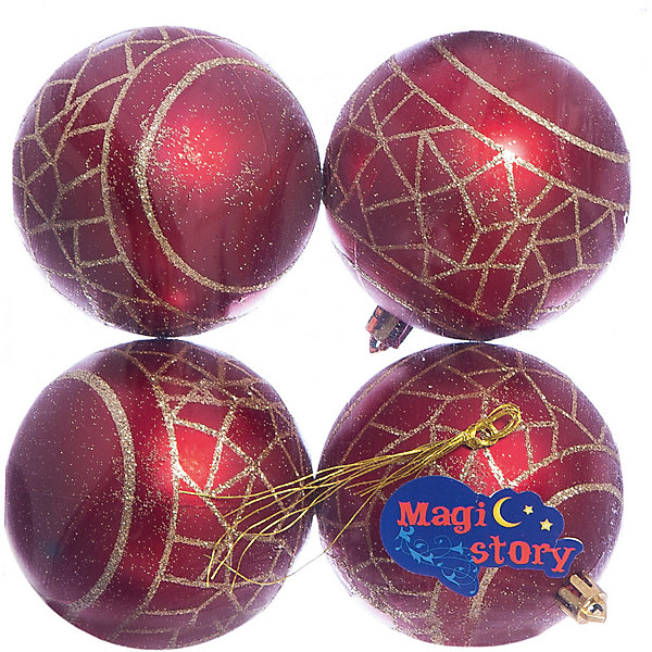 Набор шаров 4*8см Magic Story красныйЁлочные игрушки<br>Характеристики:<br><br>• в наборе: 4 шт.;<br>• материал: пластик;<br>• диаметр: 8 см;<br>• вес упаковки: 92 гр.;<br>• размер упаковки: 16х8х16 см.<br><br>Шары из набора Magic Story выполнены из пластика, а значит не разобьются при случайном падении и останутся в коллекции елочных украшений на многие годы.<br><br>Шары имеют матовое покрытие, украшены узорами с блестками. Краски украшений стойкие и насыщенные, не выцветают со временем. Шары можно подвесить с помощью специальных петелек.<br><br>Набор шаров 4х8 см Magic Story красный можно купить в нашем интернет-магазине.<br>Ширина мм: 160; Глубина мм: 80; Высота мм: 160; Вес г: 92; Возраст от месяцев: 36; Возраст до месяцев: 2147483647; Пол: Унисекс; Возраст: Детский; SKU: 7422386;