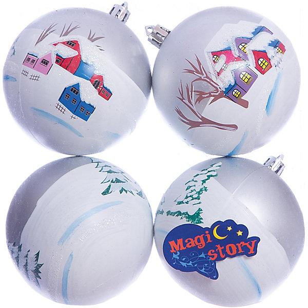 Набор шаров 4*8см Magic Story сереброЁлочные игрушки<br>Характеристики:<br><br>• в наборе: 4 шт.;<br>• материал: пластик;<br>• диаметр: 8 см;<br>• вес упаковки: 92 гр.;<br>• размер упаковки: 16х8х16 см.<br><br>Красочные елочные шары Magic Story имеют матовое покрытие. Шары оформлены изображениями в новогодней тематике. Краски яркие, насыщенные, не выцветают со временем. Украшения выполнены из пластика, а значит останутся невредимыми в коллекции елочных игрушек на многие годы.<br><br>Набор шаров 4х8 см Magic Story серебро можно купить в нашем интернет-магазине.<br>Ширина мм: 160; Глубина мм: 80; Высота мм: 160; Вес г: 92; Возраст от месяцев: 36; Возраст до месяцев: 2147483647; Пол: Унисекс; Возраст: Детский; SKU: 7422406;