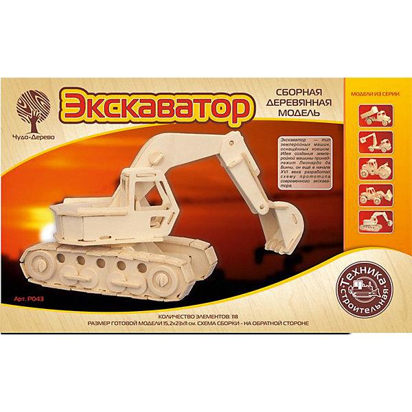 Модель сборная Экскаватор Чудо-ДеревоДеревянные модели<br>Характеристики товара:  <br><br>• возраст: от 5 лет;<br>• материал: дерево;<br>• в комплекте: 118 деталей для сборки, инструкция;<br>• размер готовой модели: 23х15,2х11 см;<br>• размер упаковки: 23х37х1 см;<br>• вес упаковки: 375 гр.;<br>• страна производитель: Китай.<br><br>Модель сборная «Экскаватор» Чудо-Дерево позволит собрать модель экскаватора. Перед началом сборки все детали нужно выдавить из фанерного листа. Все они соединяются между собой без клея, но для надежности их можно склеить клеем ПВА. Готовую модель можно раскрасить по желанию. Все детали выполнены из натуральной качественной древесины.<br><br>Модель сборную «Экскаватор» Чудо-Дерево можно приобрести в нашем интернет-магазине.<br>Ширина мм: 370; Глубина мм: 10; Высота мм: 230; Вес г: 375; Возраст от месяцев: 60; Возраст до месяцев: 180; Пол: Мужской; Возраст: Детский; SKU: 7424926;