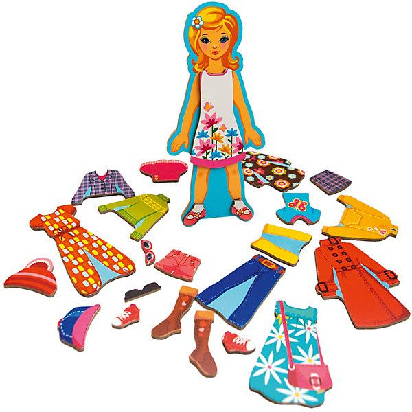 Деревянный конструктор на магнитах Модный гардеробчик (девочка), Mr. BigzyКонструирование<br>Характеристики:<br><br>• возраст: от 3 лет;<br>• материал: дерево;<br>• в наборе: фигурка, элементы одежды на магнитах;<br>• вес: 350 гр.;<br>• размер упаковки: 23х8х2 см;<br>• страна производитель: Россия.<br><br>«Модный гардеробчик» Mr. Bigzy — современная альтернатива нарисованным куклам со сменной одеждой. Все детали набора сделаны из дерева, они прочные, красочные и долговечные.<br><br>Ребенок сможет без труда изменить образ девочки, достаточно, например, поменять свитер на футболку, а сапожки на туфли. Сделать это легко с помощью магнитов на каждом элементе. Игра развивает воображение, логическое мышление и помогает изучать новые предметы гардероба.<br><br>Деревянный конструктор на магнитах «Модный гардеробчик» (девочка), Mr. Bigzy можно купить в нашем интернет-магазине.