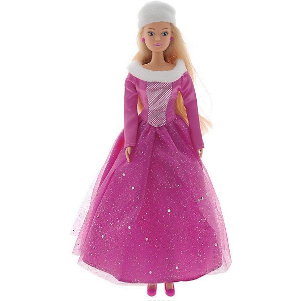 Simba Кукла Штеффи в блестящем зимнем наряде, розовая, 29 см,