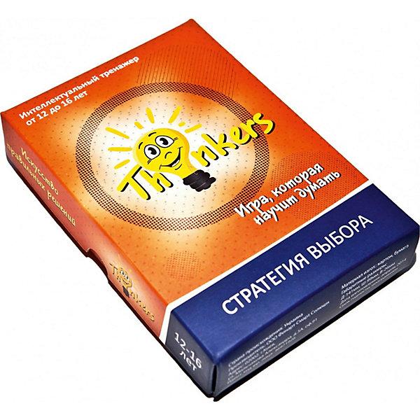 Настольная игра Thinkers Стратегия выбораИгры в дорогу<br>Характеристики товара:<br><br>• возраст: от 12 лет;<br>• материал: картон;<br>• упаковка: картонная коробка;<br>• в комплекте: 100 каротчек, инструкция;<br>• размер упаковки: 10х14х2,5 см;<br>• вес упаковки: 335 гр.;<br>• страна производитель: Украина.<br><br>Настольная игра Thinkers (Финкерс) Стратегия выбора - одна из самых сложных и увлекательных игр, которые научит решать сложные интелектуальные занятия и развить логику, мышление и способность нестандартно мыслить.<br><br>В комплект игры входят карточки с заданиями, сложность которых варьируется по пятьбальной шкале. Правильность ответов можно проверить на обороте карточки. Играть могут неограниченое количество игроков.<br><br>Настольную игру Thinkers (Финкерс) Стратегия выбора можно купить в нашем интернет-магазине.<br>Ширина мм: 145; Глубина мм: 100; Высота мм: 25; Вес г: 344; Возраст от месяцев: 144; Возраст до месяцев: 192; Пол: Унисекс; Возраст: Детский; SKU: 7434954;