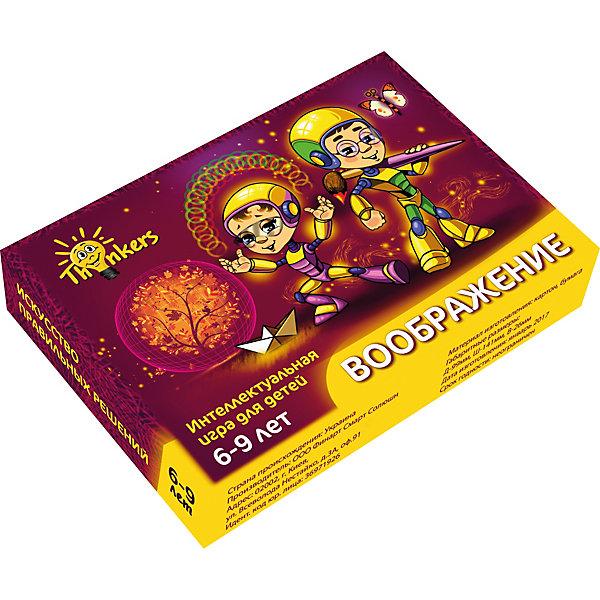 Настольная игра Thinkers ВоображениеИгры в дорогу<br>Характеристики товара:<br><br>• возраст: от 6 лет;<br>• материал: картон;<br>• упаковка: картонная коробка;<br>• в комплекте: 100 каротчек, инструкция;<br>• размер упаковки: 10х14х2,5 см;<br>• вес упаковки: 500 гр.;<br>• страна производитель: Украина.<br><br>Настольная игра Thinkers (Финкерс) Воображение - одна из самых сложных и увлекательных игр для детей и взрослых. Для выполнения интелектуальных задачь нужно применить логику и смекалку.<br><br>В комплект игры входят карточки с заданиями, сложность которых варьируется по пятьбальной шкале. Правильность ответов можно проверить на обороте карточки. Играть могут неограниченое количество игроков.<br><br>Настольную игру Thinkers (Финкерс) Воображение можно купить в нашем интернет-магазине.<br>Ширина мм: 100; Глубина мм: 146; Высота мм: 25; Вес г: 336; Возраст от месяцев: 72; Возраст до месяцев: 108; Пол: Унисекс; Возраст: Детский; SKU: 7434955;