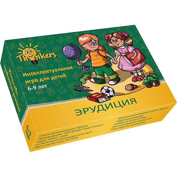 Настольная игра Thinkers ЭрудицияВикторины и ребусы<br>Характеристики товара:<br><br>• возраст: от 6 лет;<br>• материал: картон;<br>• упаковка: картонная коробка;<br>• в комплекте: 100 каротчек, инструкция;<br>• размер упаковки: 10х14х2,5 см;<br>• вес упаковки: 500 гр.;<br>• страна производитель: Украина.<br><br>Настольная игра Thinkers (Финкерс) Эрудиция - одна из самых сложных и увлекательных игр для детей и взрослых. Для выполнения интелектуальных задачь нужно применить логику и смекалку.<br><br>В комплект игры входят карточки с заданиями, сложность которых варьируется по пятьбальной шкале. Правильность ответов можно проверить на обороте карточки. Играть могут неограниченое количество игроков.<br><br>Настольную игру Thinkers (Финкерс) Эрудиция можно купить в нашем интернет-магазине.<br>Ширина мм: 100; Глубина мм: 146; Высота мм: 25; Вес г: 338; Возраст от месяцев: 72; Возраст до месяцев: 108; Пол: Унисекс; Возраст: Детский; SKU: 7434963;