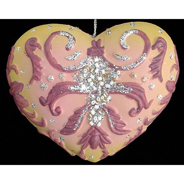 Украшение Сердце воодушевленное 12 смЁлочные игрушки<br>Характеристики:<br><br>• количество: 1 шт.;<br>• материал: полирезин;<br>• вес: 38 гр.;<br>• размер: 6х12х1 см;<br>• страна бренда: Россия.<br><br>Украшение «Сердце воодушевленное» Erich Krause выполнено в мягком розовом цвете с объемными узорами. Поверхность дополнена сияющими блестками и бисером. Имеется шнурок для подвешивания на елку.<br><br>Украшение «Сердце воодушевленное» 12 см можно купить в нашем интернет-магазине.<br>Ширина мм: 60; Глубина мм: 120; Высота мм: 10; Вес г: 38; Возраст от месяцев: 84; Возраст до месяцев: 2147483647; Пол: Унисекс; Возраст: Детский; SKU: 7435978;