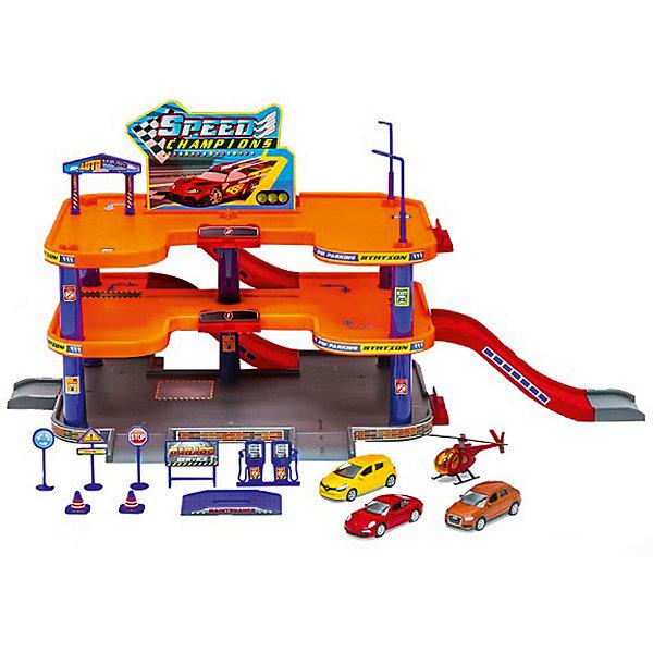 Welly Игровой набор Welly Гараж, 3 уровня + 3 машины и вертолет