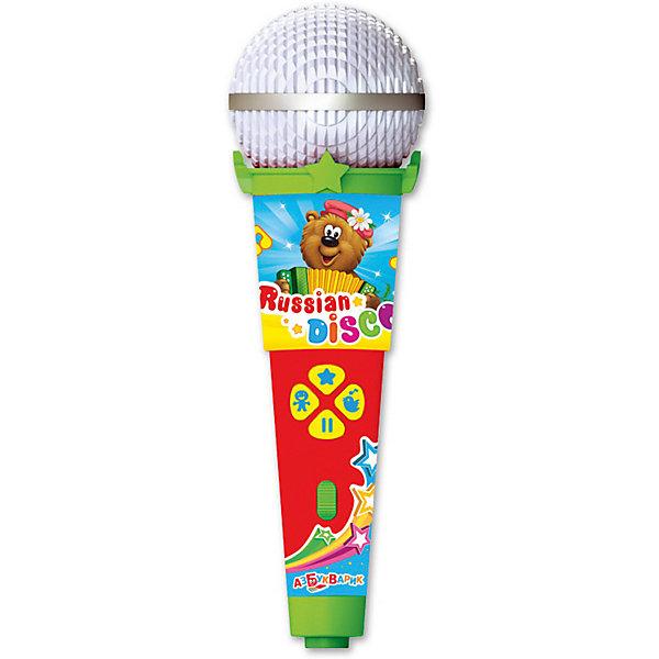 Микрофон Азбукварик Пой со мной Русское дискоМикрофоны<br>Характеристики товара:<br><br>• ISBN:4680019281650;<br>• возраст: от 3 лет;<br>• тип батареек: 1 x AAA / LR0.3 1.5V (мизинчиковые);<br>• наличие батареек: входят в комплект;<br>• состав: металл, пластик;<br>• размер упаковки: 25 х 16.3 х 6.1 см.;<br>• размер игрушки: 19 x 6 x 5.5 см.;<br>• вес: 140 гр.;<br>• упаковка: блистер на картоне;<br>• бренд: Азбукварик.<br>• страна обладатель бренда: Россия.<br><br>Игрушка-микрофон «Русское диско» из серии  «Пой со мной!» от российского бренда Азбукварик понравится многим детям, ведь каждый из них сможет исполнить пятнадцать танцевальных хитов, подпевая в такой микрофон. <br><br>Представленная игрушка может воспроизводить знакомые песни, а также сопровождаться подсветкой под музыку. С такой игрушкой вечер обещает быть интересным и веселым.<br><br>Слушай 15 детских хитов («Частушки Бабок-Ёжек», «Калинка», «Каравай», «Когда мои друзья со мной» и др.), танцуй и подпевай любимым героям. Весёлое пение с микрофоном раскроет музыкальные и актёрские таланты малыша. А мобильное приложение от Азбукварика подарит ещё больше веселья! Скачай «Караоке с мультиками» с помощью бонусного QR-кода на упаковке. <br> <br>Игрушку-микрофон «Русское диско» от Азбукварик  можно купить в нашем интернет-магазине.<br>Ширина мм: 130; Глубина мм: 222; Высота мм: 50; Вес г: 140; Возраст от месяцев: 36; Возраст до месяцев: 72; Пол: Унисекс; Возраст: Детский; SKU: 7436740;