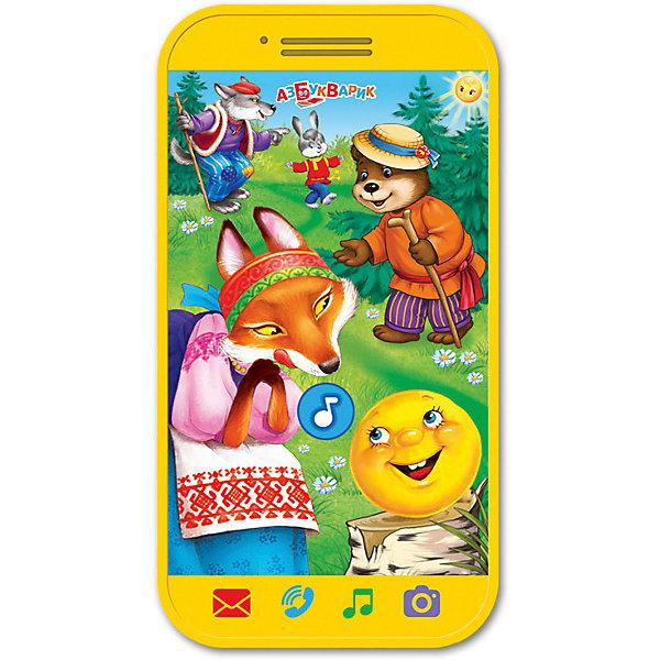 Мини-смартфончик Азбукварик КолобокДетские гаджеты<br>Характеристики товара:<br><br>• ISBN:4680019281346;<br>• возраст: от 3 лет;<br>• тип батареек: 2 x AAA / LR0.3 1.5V (мизинчиковые);<br>• наличие батареек: входят в комплект;<br>• состав: пластик;<br>• размер упаковки: 22,5 х 13 х 2 см.;<br>• размер игрушки: 11,3 x 6 см.;<br>• вес: 80 гр.;<br>• упаковка: блистер на картоне;<br>• бренд: Азбукварик;<br>• страна обладатель бренда: Россия.<br><br>Мини-смартфончик «Колобок» от российского бренда Азбукварик  предназначена для малышей, <br>помогает развивать музыкальный вкус и чувство ритма.<br><br>Игрушка повторяет форму сенсорного телефона, дополненного несколькими яркими кнопками, нажимая на которые, каждый ребенок сможетон сможет послушать сказку про Колобка и пять веселых потешек. <br><br>На упаковке изделия размещен специальный код. Если просканировать его при помощи мобильного устройства, можно будет установить на детский смартфон пять сказок и приложение «Караоке».<br><br>Мини-смартфончик «Колобок» от Азбукварика  можно купить в нашем интернет-магазине.<br>Ширина мм: 132; Глубина мм: 16; Высота мм: 227; Вес г: 80; Возраст от месяцев: 36; Возраст до месяцев: 72; Пол: Унисекс; Возраст: Детский; SKU: 7436754;