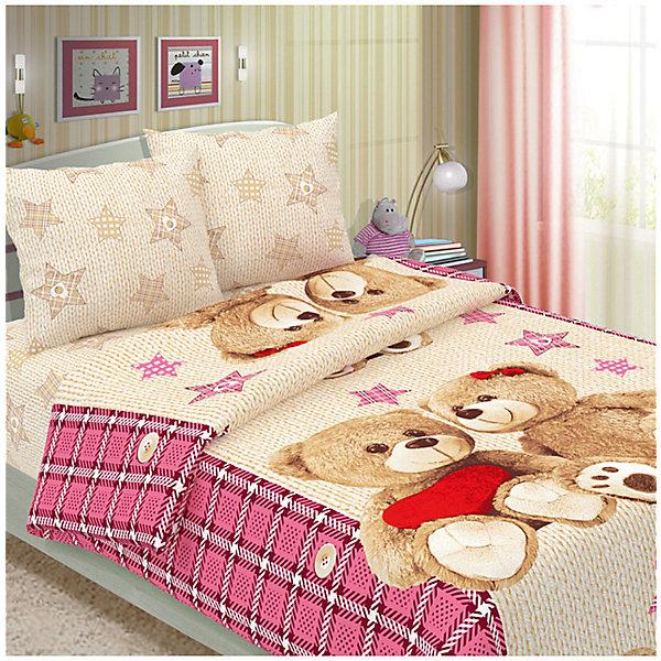 Letto Детское постельное белье 1,5 сп Letto Влюбленные мишки, розовый letto постельное белье догги 50х70 letto голубой