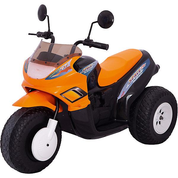Трехколесный мотоцикл Пламенный мотор Спейс 103 см, оранжевый,  2*6 ВКоллекционные машинки<br>Характеристики товара:<br><br>• возраст: от 3 лет;<br>• максимальная нагрузка: 30 кг;<br>• материал: пластик, металл;<br>• двигатель: 2х6V;<br>• 2 аккумулятора: 6V, 12Ah;<br>• 3 передачи;<br>• время езды: 45-60 минут;<br>• размер мотоцикла: 102х53х74,5 см;<br>• размер упаковки: 103х45х48,9 см;<br>• вес упаковки: 17,6 кг;<br>• страна производитель: Китай.<br><br>Мотоцикл трехколесный Super Space — настоящее транспортное средство для ребенка. Мотоцикл трехколесный с широкими колесами, поэтому он отличается хорошей устойчивостью. Мотоцикл имеет сразу 3 передачи: 2 передние и одну заднюю. Переключаются они кнопкой на панели у руля. Чтобы начать движение, надо установить передачу и нажать на педаль газа.<br><br>На передней передаче мотоцикл может развивать скорость до 7 км/час, а на задней до 3,5 км/час. Мотоцикл может преодолевать подъем под углом в 10%. Большие колеса позволяют кататься не только по ровной поверхности, но и преодолевать сложные участки, ездить по грунту, песку и траве. <br><br>Во время движения загораются фары. На мотоцикле есть кнопка, при нажатии на которую можно послушать мелодии. Аккумуляторы расположены под сидением и легко вынимаются для подзарядки.<br><br>Мотоцикл трехколесный Super Space можно прибрести в нашем интернет-магазине.