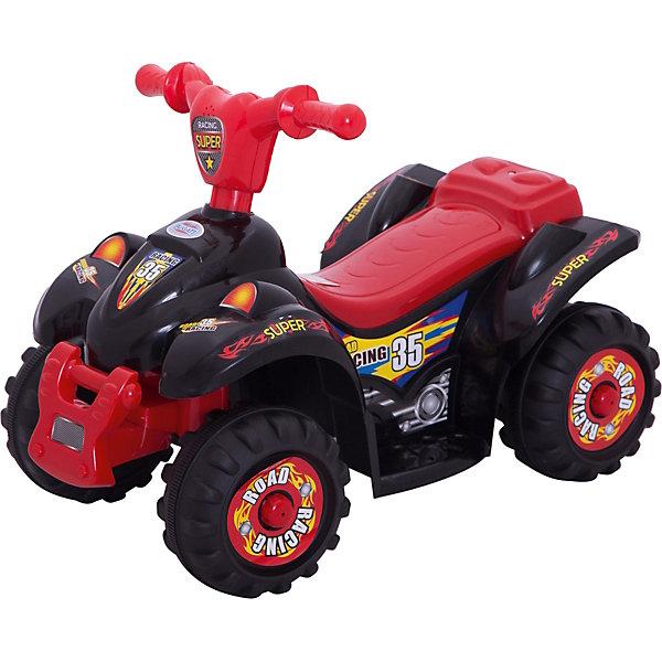Электроквадроцикл Bugati Power, красно-черныйЭлектромобили<br>Характеристики товара:<br><br>• возраст: от 3 лет;<br>• максимальная нагрузка: 25 кг;<br>• материал: пластик, металл;<br>• максимальная скорость: 3 км/час;<br>• аккумулятор: 6V 4Ah;<br>• мощность мотора: 22W;<br>• размер квадроцикла: 62х42х40 см;<br>• размер упаковки: 60х50х40 см;<br>• вес упаковки: 6 кг;<br>• страна производитель: Китай.<br><br>Квадроцикл Bugati на аккумуляторе — интересное и увлекательное транспортное средство для детей. Квадроцикл оснащен удобным сидением, подножкой, 4 устойчивыми широкими колесами, ручками для управления. Колеса выполнены из резины, поэтому не повреждают напольное покрытие дома. <br><br>Звуковые эффекты сделают езду еще увлекательней. Квадроцикл предназначен для катания одного ребенка и способен развивать скорость до 3 км/час. <br><br>Квадроцикл Bugati на аккумуляторе можно приобрести в нашем интернет-магазине.<br>Ширина мм: 600; Глубина мм: 400; Высота мм: 500; Вес г: 6000; Возраст от месяцев: 36; Возраст до месяцев: 96; Пол: Мужской; Возраст: Детский; SKU: 7443044;