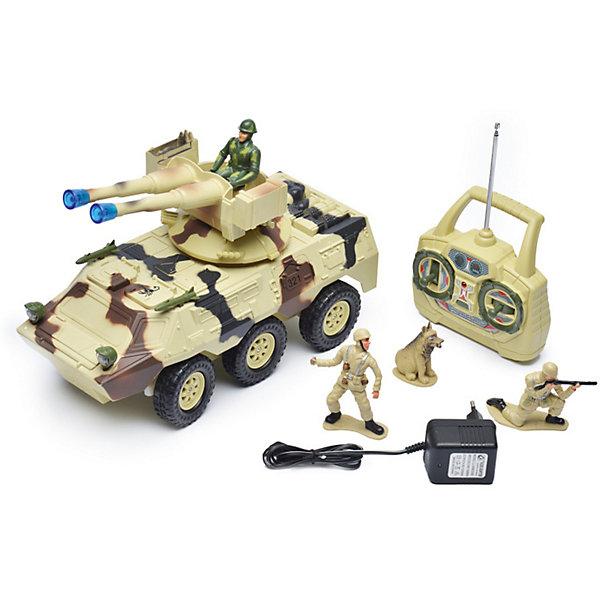 Радиоуправляемая машинка Mioshi Вездеход с пулеметной установкой, 30 смВоенный транспорт<br>Характеристики:<br><br>• возраст: от 6 лет;<br>• материал: пластик;<br>• масштаб: 1:20;<br>• в комплекте: игрушка, пульт управления, 2 фигурки солдатиков, фигурка собаки;<br>• тип батареек: 2хАА;<br>• наличие батареек пульта: не в комплекте;<br>• функции: свет, звук;<br>• вес упаковки: 1,71 кг.;<br>• размер упаковки: 43х17х28 см;<br>• страна производитель: Китай.<br><br>«Вездеход с пулеметной установкой» Mioshi управляется с помощью удобного пульта дистанционно. С игрушкой легко устраивать сюжетные игры про войнушку, в наборе есть все, чтобы разыграть опасную сцену с участием военной техники, солдат и смелого пса.<br><br>Вездеход едет в четырех направлениях. Пушка, установленная сверху, крутится вокруг своей оси и при этом светится, а машина издает характерные звуки.<br><br>Р/У игрушка «Вездеход с пулеметной установкой», Mioshi можно купить в нашем интернет-магазине.<br>Ширина мм: 430; Глубина мм: 170; Высота мм: 280; Вес г: 1710; Возраст от месяцев: 36; Возраст до месяцев: 72; Пол: Мужской; Возраст: Детский; SKU: 7448751;