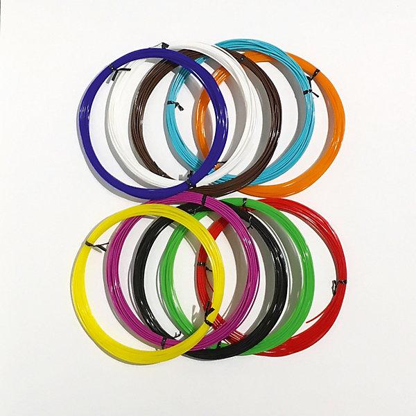 Набор PLA пластика  3D Фантазер , 1,75 мм, 10 цветов по 10 метров - 3D ручки